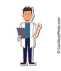 doctor or medic with clipboard icon - flat design doctor or...