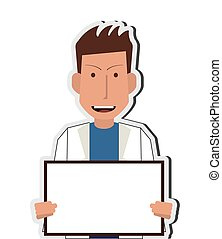 doctor or medic with small whiteboard icon - flat design...