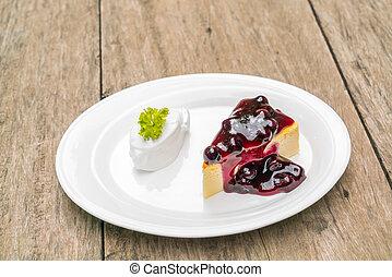 Slice of New York Cheesecake .
