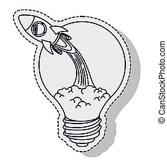rocket startup bulb launcher isolated icon vector...