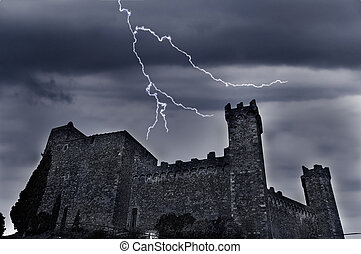 old castle with dark ominous clouds and lightning