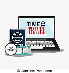 time travel vacation trip icon. - laptop time travel...