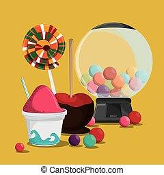 fair food snack carnival design - ice cream apple candy fair...