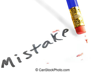 "closeup of a pencil erasing a ""mistake\"""
