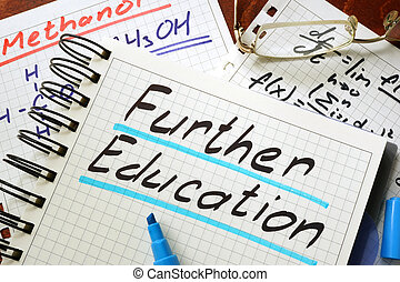 further education - Sign further education written in a...