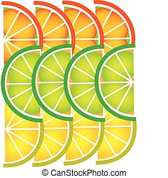 template of sliced Grapefruit, lemon, lime and orange -1