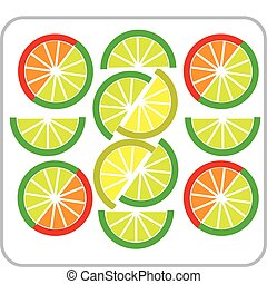 template of sliced Grapefruit, lemon, lime and orange -2