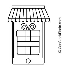 smartphone gift shopping online store market icon Vector...