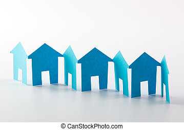 Paper chain neighbourhood - Blue paper houses in a row on...
