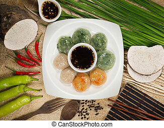 Steamed Dumpling stuffed with Garlic Chives and Taro and...