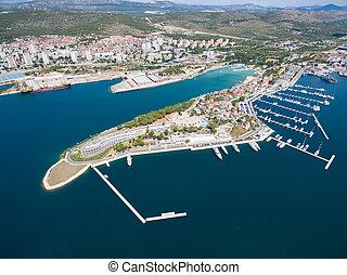 Aerial view of Sibenik in Croatia - adriatic tourist...