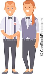 Wedding gay couples vector characters - Happy gay couple in...
