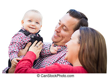 Baby Boy Having Fun With Mother and Father Isolated