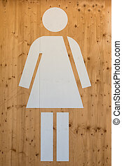Female WC Sign, Restroom Symbol - Female WC Sign, White...