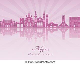 Algiers skyline in purple radiant orchid in editable vector...