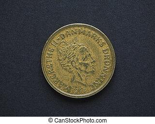 20 Danish Krone DKK coin, currency of Denmark DK