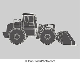 Bulldozer - Vector illustration of a bulldozer Side view