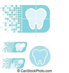 歯医者の, 心配, ロゴ