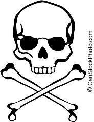 crossbones skull - classic cross bones and skull in vector...