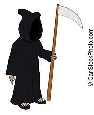 Death - Vector illustration of a skeleton in a black cloak...