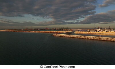 Valencia Spain morning harbor filme - DSLR Full HD...