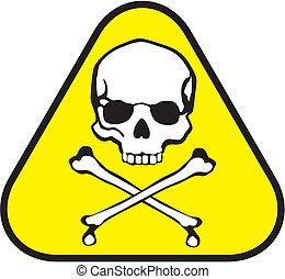 poison label - isolated triangle sticker of poison symbol