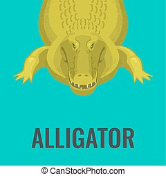 Dangerous green alligator is waiting for lunch