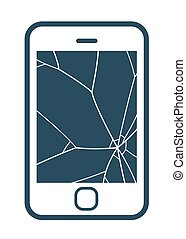 Mobile phone icon with smashed screen showing shattered...