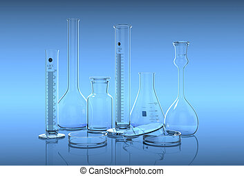 3D render,illustrationGlassware in laboratory on the blue...