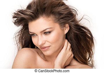 Beauty portrait of natural brunette woman - Beauty portrait...