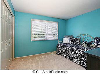 Modern blue adult bedroom interior with wardrobe