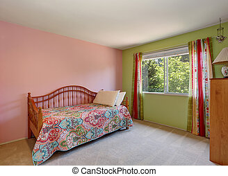 Modern pink adult bedroom interior. Also green wall and colorful curtains