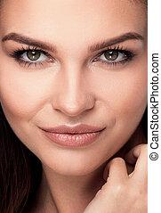 Beauty closeup portrait of young natural woman - Beauty...