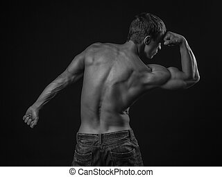 Back of a muscular athlete