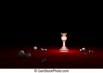 Fight for survival. The last Hero (chess metaphor). 3D...