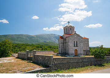church near the Cetina water source spring in Croatia -...