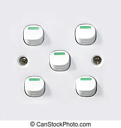 Switches on white switch board