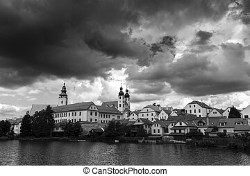 Telc Town Czech Republic Destination Black and White Photo...