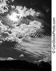 Black and White Wonderful Mysterious Sky with Clouds