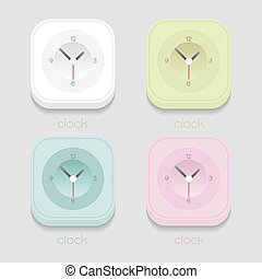 vector clock icon, White, blue, green, pink on gray background