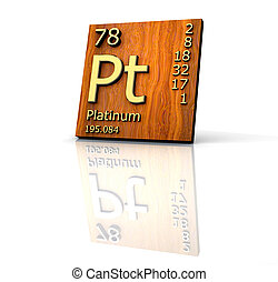 Platinum form Periodic Table of Elements - wood board