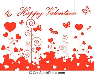happy valentine day card - card heart pattern and happy...