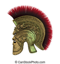 3D Rendering Ancient Greek Helmet on White - 3D rendering of...