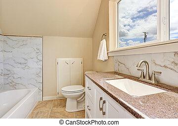 cuarto de baño, cima, mostrador, gabinete, interior,...