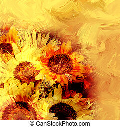 Floral background with stylized bouquet of sunflowers on...