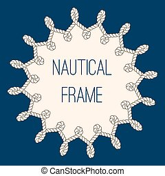 Nautical ropes frame over navy blue background - Intertwined...