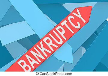 Bankruptcy arrow pointing upward, 3d rendering