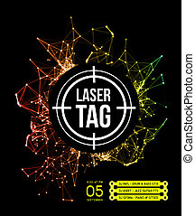 Laser tag with targeton a background of multi-colored laser...