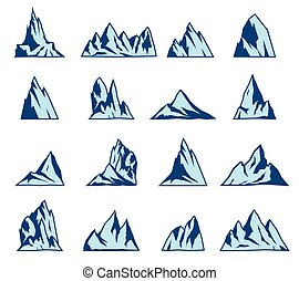Mountain vector icons set. Tourism, hiking and camping...