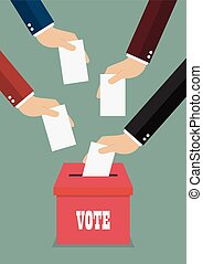 Businessmen putting papers in the ballot box